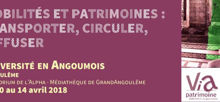 Université en Angoumois – Mobilités et Patrimoines : transporter, circuler, diffuser