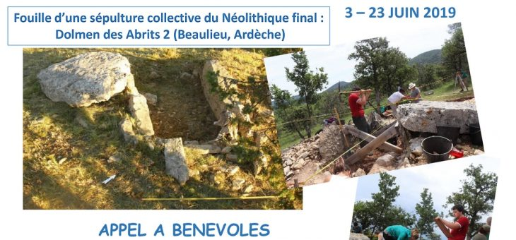 Appel à bénévoles : Fouille du dolmen des Abrits 2 (Ardèche)