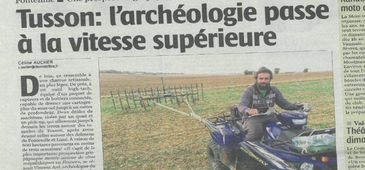 Tusson : l'archéologie passe à la vitesse supérieure – Charente Libre 10/10/2018
